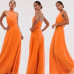 ASOS orange high neck halter maxi dress